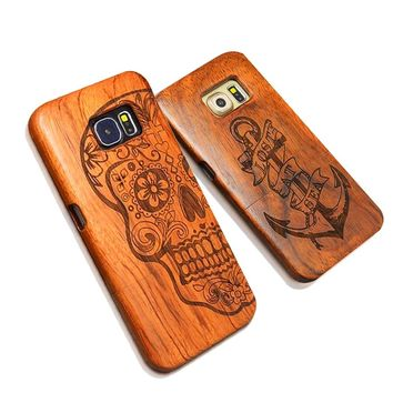 Nature Wood Case For iPhone X 8 7 6 6s Plus SE 5 5s Samsung Galaxy S6 S7 edge Plus S5 S4 Note 7 5 4 3 Retro Carving Wooden Cover