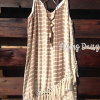 Entro USA Olive Tie Dye Fringe Dress