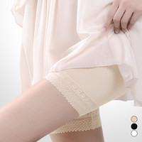 L-3XL Black/White/Beige Comfortable Lace Safety Shorts SP166522 from Plus Cutie