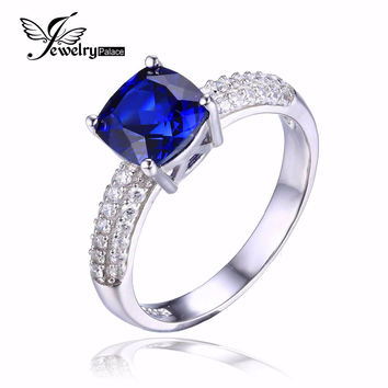 JewelryPalace Cushion 2.6ct Created Blue Sapphire Solitaire Engagement Ring For Women Pure 925 Sterling Silver Fashion Jewelry