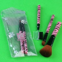 5pc Pink Pro Zebra Stripe Cosmetic Makeup Artist Blush Brushes Set Tool Kits