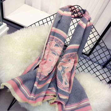 Versace Women Smooth Cashmere Warm Winter Cape Scarf Scarves