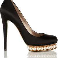 Nicholas Kirkwood - Embellished satin pumps