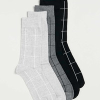 Monochrome Grid Check 5 Pack Socks