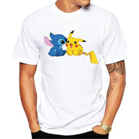 Pokemon Go Men T-shirt Fashion Pikachu Stitch Tops Pikachu In Thor Armor Printed t shirts Short Sleeve Hipster Comics tee