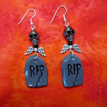 Halloween  Earrings, Dangle Skull, Hematite Stone Heads with Black Crystal Eyes, Handmade Fimo Tombstones, Silver plate wings