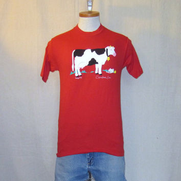 Vintage 80s CALIFORNIA FARM GRAPHIC Funny Cow Cambria Red Soft Unisex Small 50/50 T-Shirt