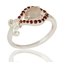 Natural Rose Quartz & Garnet Gemstone Solid 925 Sterling Silver Ring