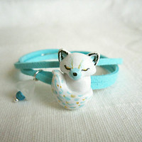 Wrap bracelet, Artict Fox polymer clay bracelet, White and mint green