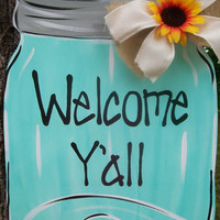 Mason Jar Door Hanger, Summer Door Hanger, Spring Door Hanger, Family Door Hanger, Summer Wreath, Personalized Mason Jar