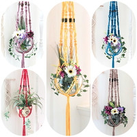 Modern Macrame Plant Hangers, Colorful Hanging Planters, Boho Plant Holders, Beaded Pot Hangers, Housewarming Gifts, Yellow Red Green Blue