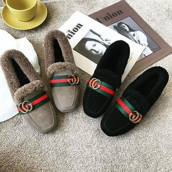 Women Casual Fashion All-match Stripe Webbing Letter Plush Loafer Lazy Flats Shoes