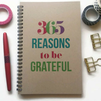 Writing journal, spiral notebook, Bullet journal, brown kraft journal, lined blank grid pages- 365 reasons to be grateful, gratitude journal
