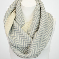 Chevron Infinity Scarf in Ivory and Gray