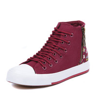 Womens Classic High-Top Unique Floral Sneakers