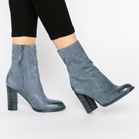 Sam Edelman Reyes Steel Grey Leather Heeled Ankle Boots