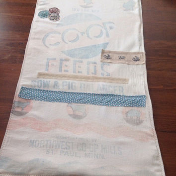 Vintage Farmhouse feed sack table runner, farmhouse decor, shabby chic table table runner
