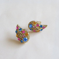 Fruit Salad Earrings, Vintage, Abstract Floral Motif, Pink Blue & Yellow Rhinestones, Fun, Retro, Kitsch