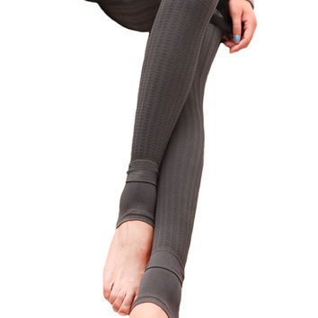 BadAssLeggings Women's Ribbed Thickening Leggings Medium Gray