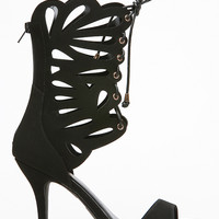 Glaze Suede Cut Out Calf Length Heel