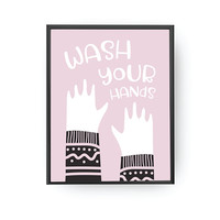 Wash Your Hands, Kids Print, Pink Print, Kids Reminder, Girls Bathroom, Kids Education, Nursery Poster, Bathroom Decor, Typography Poster