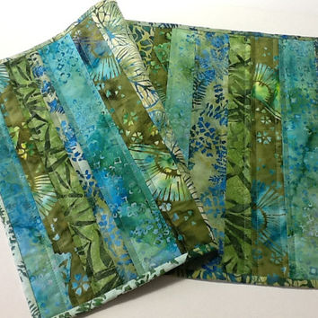 Green and Blue Quilted Batik Table Runner, Leaf Print Table Topper, Quiltsy Handmade