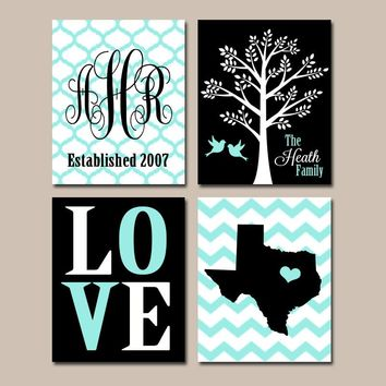 Personalized Family Wall Art, Canvas or Print Custom Couples Tree State Monogram LOVE Bird Tree Est Date Wedding Gift Set of 4 Home Decor
