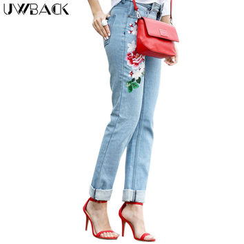 Uwback Mom Embroidered Jeans Woman 2017 New Brand Spring Straight Jeans Women Flower Plus Size Denim Women Casual Pants