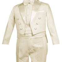 Gino Giovanni Ring Bearer Boys Tuxedo Tail Suit Tux Set Ivory From Baby to Teen
