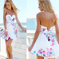 Fashion Sleeveless Backless Multicolor Flower Print Strapless Mini Dress