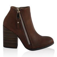 """Toro"" Chunky Heel Side Zip Booties - Camel"