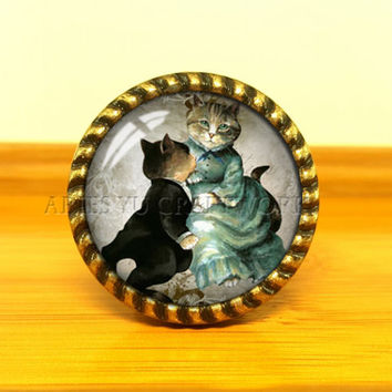Cat---Drawer knobs/ Handmade Vintage Bronze Dresser knobs cabinet Dresser Knobs pull / Dresser Pull / Cabinet Knobs / Furniture Knobs