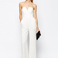 White Strapless V Wire Zipper Slim Jumpsuit - Sheinside.com