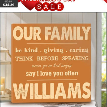 Family Rules Canvas Print - Personalized Family Name Sign