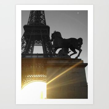 Paris Eiffel tower black and white with color GOLD Art Print by Mr Splash