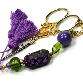 Scissor Fob, Quilting, Sewing, Cross Stitch, Green, Purple, DIY Crafts, Beaded, TJBdesigns