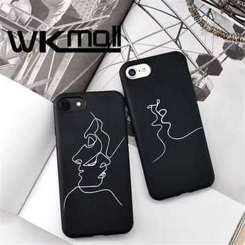 Fashion Abstract Line Face Soft Phone Cases For iphone 7 Case Cute Cartoon Art Line cover For iphone7  6 6S 7PLus Comics Coque