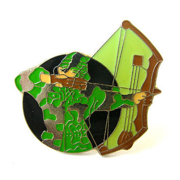 Vintage Hunter Pin, Archer Pin, Compound Bow Pin, Hunting Pin, Hat Pin, Lapel Pin