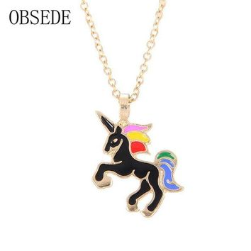ac spbest OBSEDE Fashion Glaze Funny Unicorn Pendants & Necklaces Dripping Oil Style Alloy Choker for Women Jewelry Charm Gifts