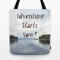 Adventure Starts Now! Tote Bag by RQ Designs (Retro Quotes)