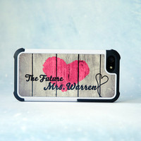 Personalized iPhone 6 Phone Case Cover, iPhone 5, Samsung Galaxy S4 Case, Future Mrs, Wedding, Bride, Rustic Wood Phone Case, Custom Gift