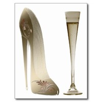 Sepia Stiletto Shoe and Celebration Champagne Postcard