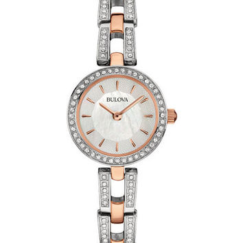 Bulova Ladies Petite Crystal Dress Watch - Two-Tone - Rose Gold-Tone & SS - MOP