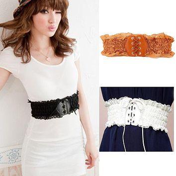Belt Women  Lace Elastic Wide Waist Belts Summer Dress Women's Accessories Pu Leather Girdle Bands