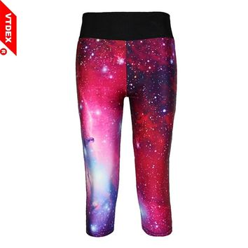 VTDEX Women Red Yoga Leggings Capri 2017 Starry Digital Print Fitness Sports Leggings 3/4 Skinny GYM Running Tights Girl