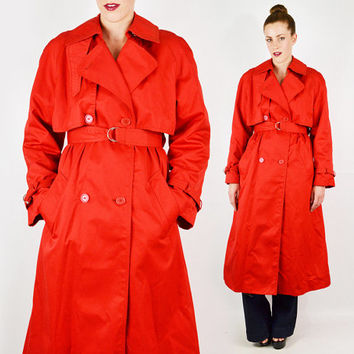 vintage 80s red TRENCH COAT jacket / red beige nova check plaid lining / red spy trench coat / red long trench coat / classic preppy / l