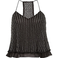 River Island Womens Black beaded cropped cami