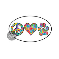 Peace Love Paw Decal - Dog Paw Print Heart Vinyl Bumper Sticker Pet Cute Car Decal Laptop Decal Teal Blue Pink