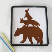 Pick Your Color. Handcut Brown Woodland Stacking Animals Nursery Art Wall Art Wall Decor. Forest Bear Fox Rabbit Art. Cute Baby Shower Gift