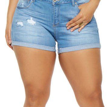 Plus Size WAX Roll Cuff Denim Shorts